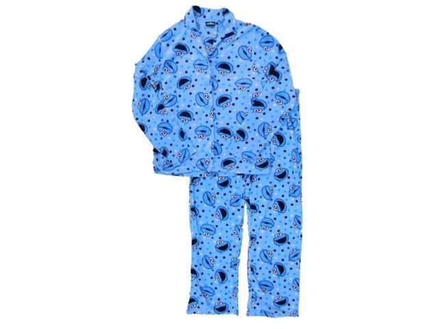 e4f1a6b5 Womens Blue Cookie Monster & Polka Dot Pajamas Sesame Street Sleep Set Large