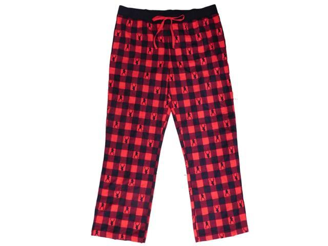Womens Red Plaid Deer Print Flannel Sleep Pants Lounge   Pajama Bottoms X- Large b210cb6e1