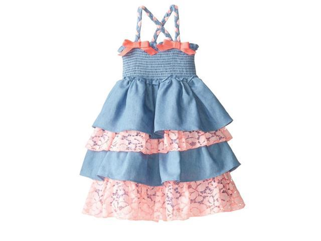 af0f2945c58 Nannette Infant Toddler Girl Ruffled Smocked Denim Dress Sleeveless Sundress  2T