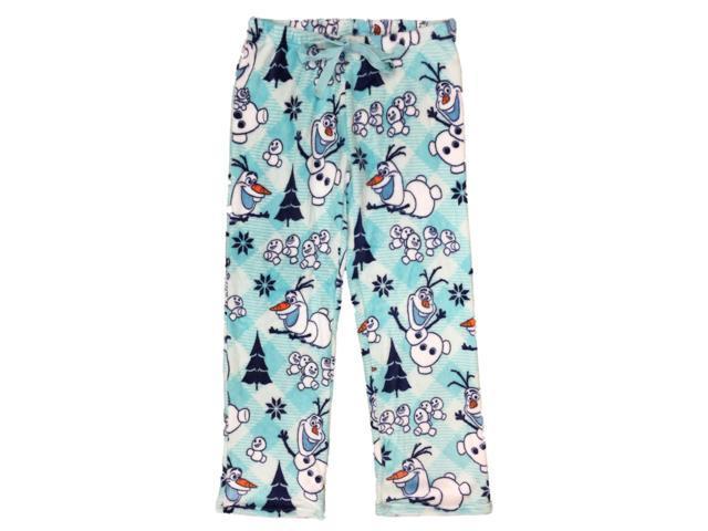 Disney Frozen Womens Plush Blue Fleece Olaf Pajamas Bottoms Sleep Pants XL 7987989c7