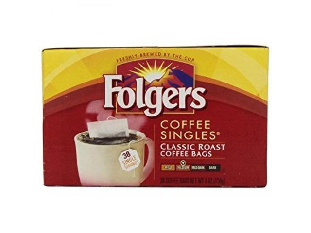 Folgers Coffee Singles Classic Roast Bags 6 Ounce 38 Count