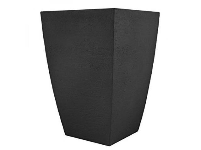 Tusco Products MSQT19BK Modern Square Garden Planter, 19 Inches Tall, Black