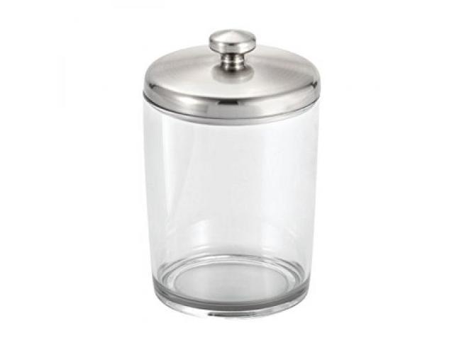 InterDesign Gina Bathroom Vanity Canister Jar For Cotton Balls, Swabs,  Cosmetic Pads   Clear