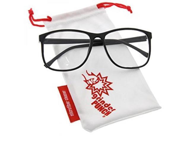 grinderPUNCH Black Large Nerdy Thin Plastic Frame Clear Lens Eye ...