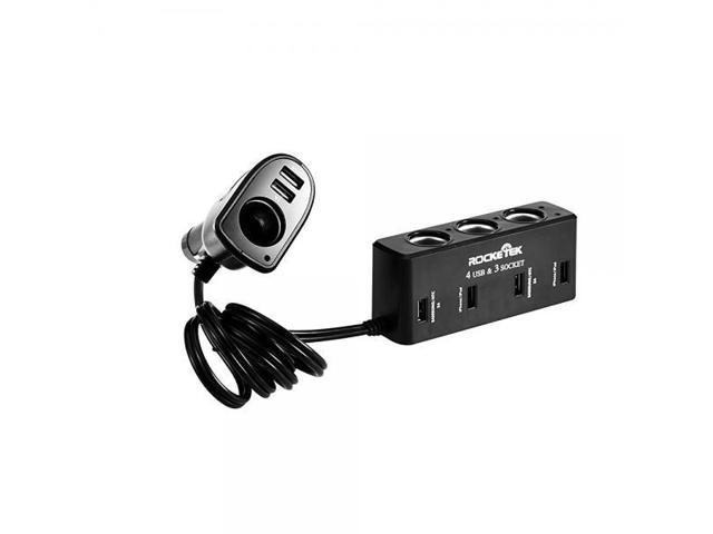 Rocketek 6 Port Usb Car Charger Adapter With 4 Socket Cigarette Lighter Dc Outlet