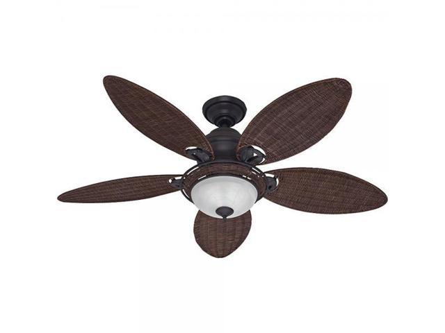 Hunter Fan Company 54095 Caribbean Breeze 54 Inch Ceiling With Five Antique Dark Wicker Blades And Light Kit Weathered Bronze