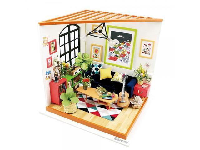 ROBOTIME Miniature Dollhouse Kits DIY Toy House Furniture Kit As Birthday Gifts For Kids And Adults