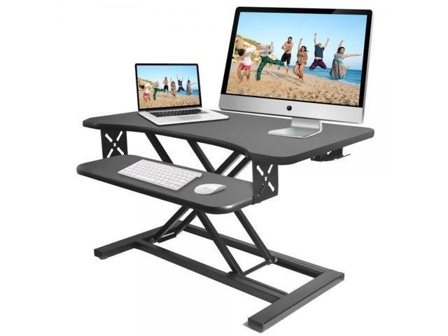 Pyle Ergonomic Standing Desk & PC Monitor Riser - Height Adjustable Laptop  & Computer Table w/ Wide Keyboard Tray - Black Sit & Stand Desktop