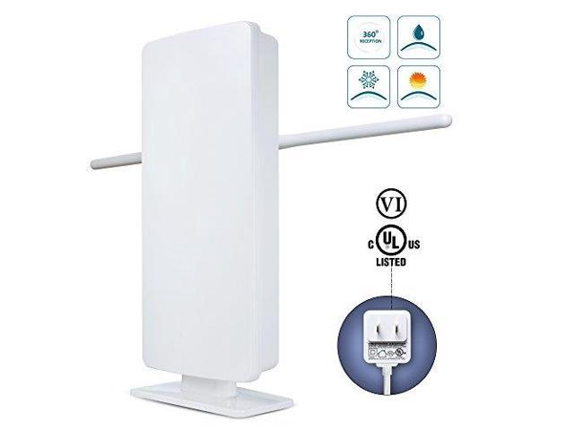 Outdoor TV Antenna -ANTOP 400-BV Amplified Flat Antenna with Noise-Free 4G  Filter for VHF Enhanced, 70 Miles Multi-Directional Long Range Reception,
