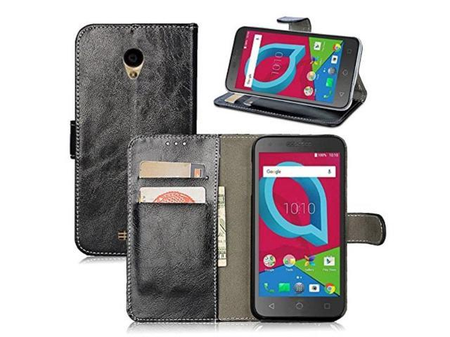 alcatel idealxcite / verso / cameox 5044r / raven lte a574bl case, alcatel  u50 5044s case, telegaming retro oil wax leather wallet flip case with card