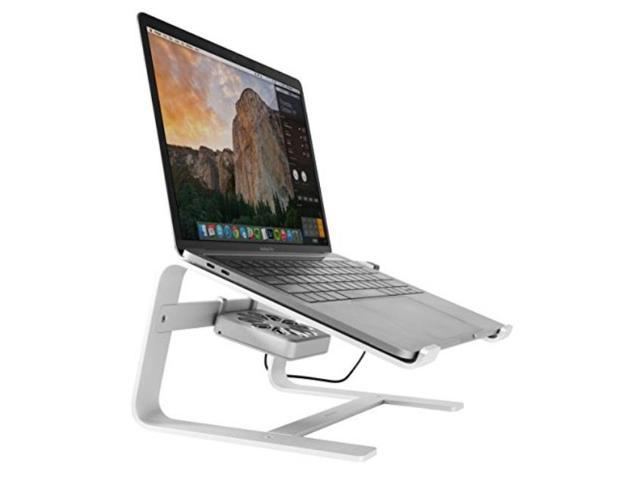 Macally Laptop Stand With Cooling Fan For Desk Sturdy Aluminum
