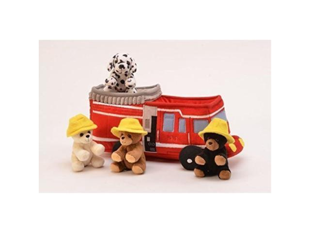 Plush Fire Truck With Stuffed Animals 3 Bears With Hats And 1