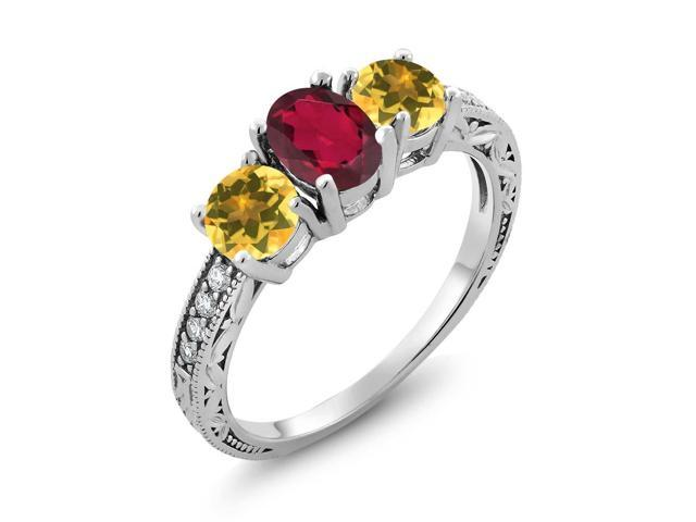 Gem Stone King 1 82 Ct Oval Red Mystic Topaz Yellow Citrine 925 Sterling  Silver Ring - Newegg com