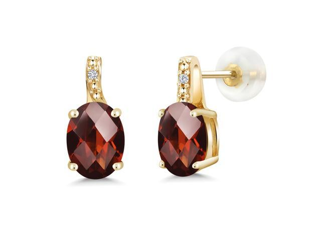 9a680aaf7315c 2.81 Ct Oval Checkerboard Red Garnet White Diamond 10K Yellow Gold Earrings  - Newegg.com