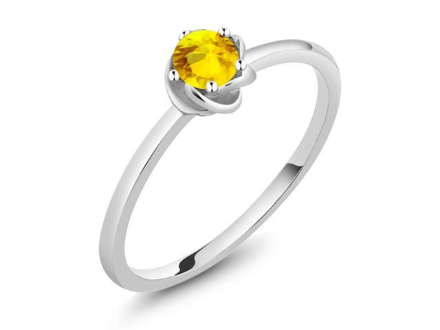 0.36 Ct Round Yellow Sapphire 925 Sterling Silver Wing Ring