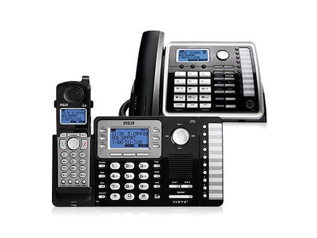 rca visys 25252 bundle 2 line dect 6 0 corded cordless phone combo rh newegg com