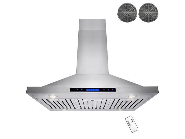 Akdy 36 Stainless Steel Island Ductless Range Hood Vents Remote