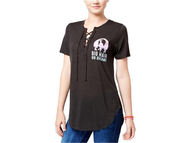 ad2f74a29 Dreamworks Womens Trolls Big Hair Lace-UP Graphic T-Shirt black S - Juniors