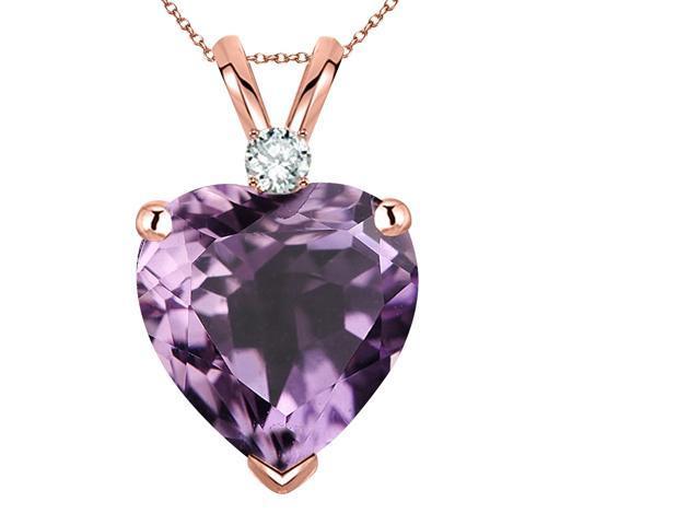 39e578edb3586 14k Rose Gold over Sterling Silver Diamond and Amethyst Heart Pendant  Necklace ,18'', - Newegg.com
