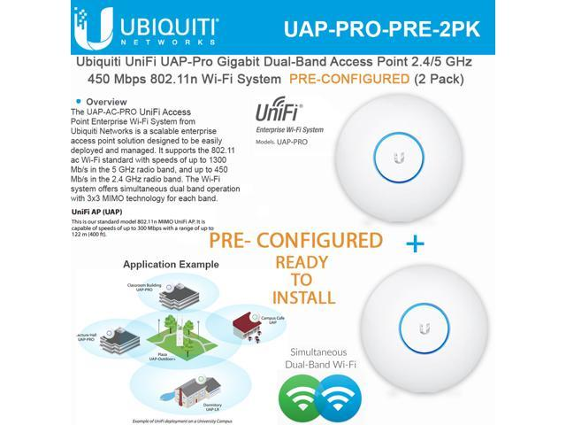 Ubiquiti Unifi UAP Pro Dual Band Access Point 802 11n PRECONFIGURED (2Pack)  - Newegg com
