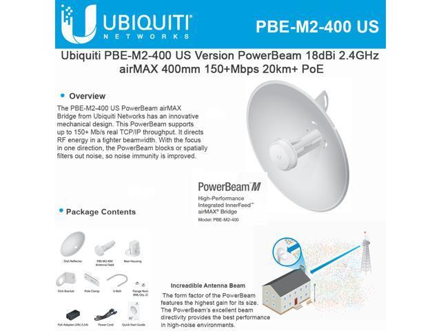 Ubiquiti Networks - PBE-M2-400-US - Ubiquiti PowerBeam PBE-M2-400 IEEE  802 11n 150 Mbit/s Wireless Bridge - 2 GHz - 12 4 - Newegg com