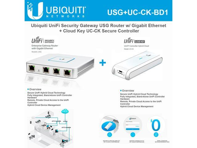 Ubiquiti Networks UniFi USG Router w/ Gigabit Ethernet Enterprise  Site-to-Site VPN + Cloud Key UC-CK Hybrid Stand-Alone Controller Hardware -