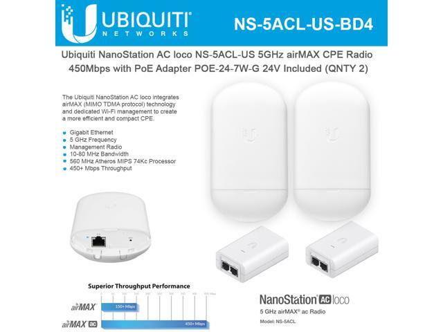 Ubiquiti Networks NanoStation AC loco NS-5ACL-US Loco5ac 5GHz 802 11ac  airMAX CPE Radio 450Mbps Wireless Access Point (2-Pack) with PoE  POE-24-7W-G