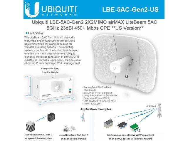 Ubiquiti Networks - LBE-5AC-GEN2-US - Ubiquiti LiteBeam AC Gen2  LBE-5AC-Gen2 IEEE 802 11ac 450 Mbit/s Wireless Bridge - - Newegg com