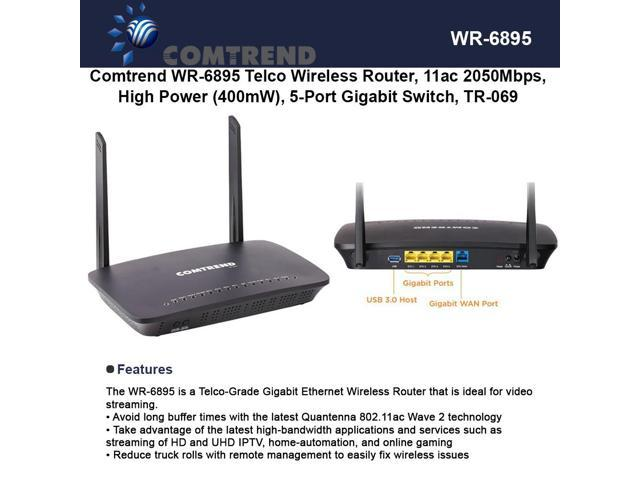 Comtrend WR-6895 Telco Wireless Router High Power (400mW), 5-Port Gigabit  Switch - Newegg com
