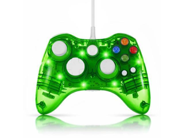 USB Wired Gamepad Controller for PC & XBox 360 (Green) - Glow Lightning Joystick