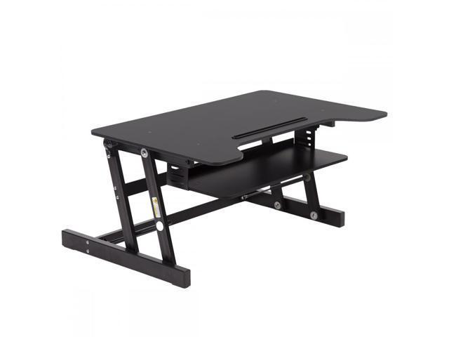 Sit Stand Desk >> Black Desktop Standing Desk Adjustable Height Sit Stand Workstation Riser L80