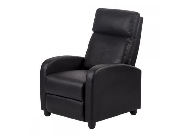 New Black Modern Leather Chaise Couch Single Recliner Chair Sofa Furniture 87