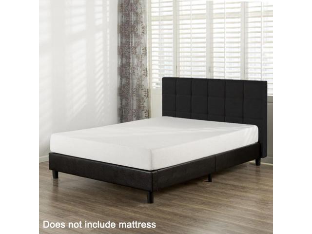 Queen Size Faux Leather Platform Bed Frame Slats Upholstered ...
