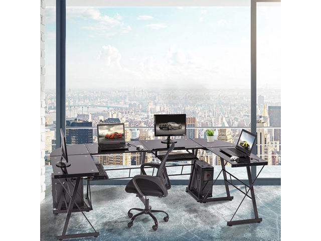 Set Of 2 L Shaped Desk Office Computer Glass Corner Desk With