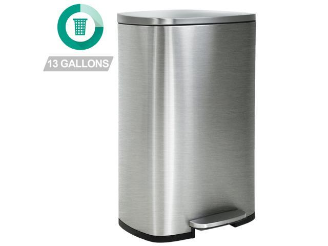 Kitchen Trash Can With Lid For Office Bedroom Bathroom Step Trash Bin  Fingerprint-Proof Garbage Bin Brushed Stainless Steel 13 Gallon / 50 Liter