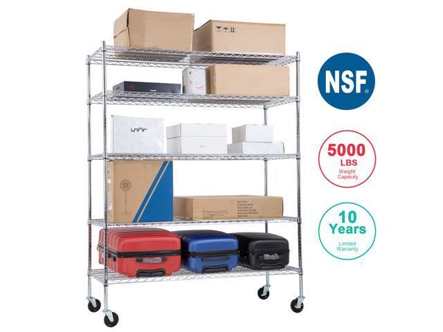 4 Tier Wire Steel NSF Shelving Rack Heavy Duty Chrome Shelf Adjustable Organizer