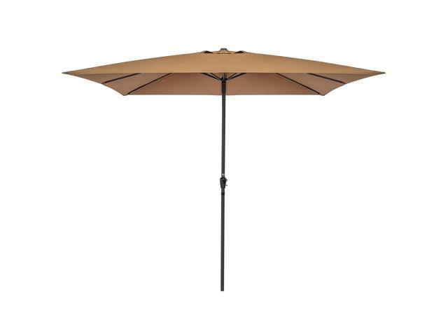 Best Choice Products 8x11 Ft Rectangular Patio Umbrella With Crank 210g Polyester Tan