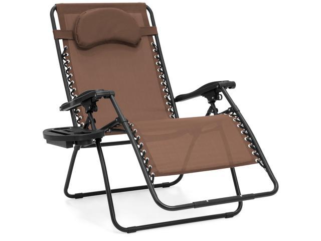 Groovy Best Choice Products Oversized Zero Gravity Outdoor Reclining Lounge Patio Chair W Cup Holder Brown Newegg Com Pdpeps Interior Chair Design Pdpepsorg