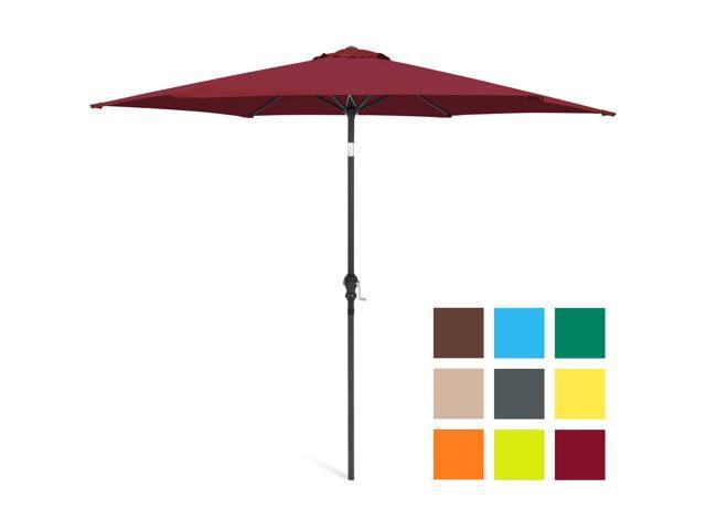 Best Choice Products 10ft Outdoor Steel Market Patio Umbrella W/ Crank,  Tilt Push Button, 6 Ribs   Burgundy   Newegg.com