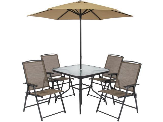 Groovy Best Choice Products 6 Piece Outdoor Folding Patio Dining Set W Table 4 Chairs Umbrella And Built In Base Tan Newegg Com Uwap Interior Chair Design Uwaporg