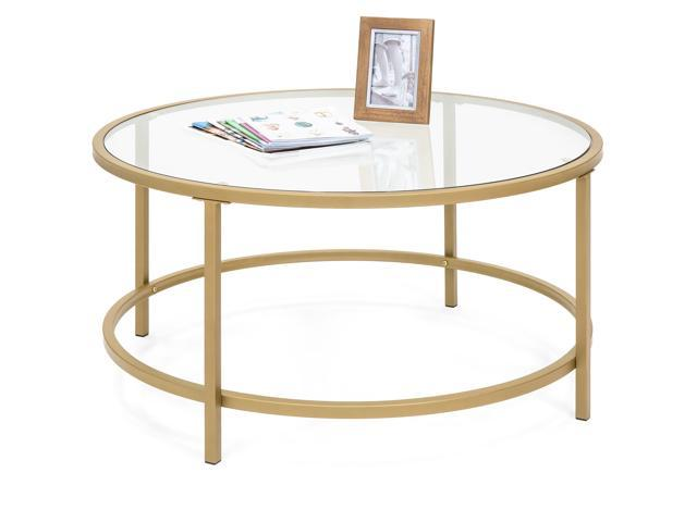 Incredible Best Choice Products 36In Round Tempered Glass Coffee Table W Satin Gold Trim For Home Living Room Dining Room Machost Co Dining Chair Design Ideas Machostcouk