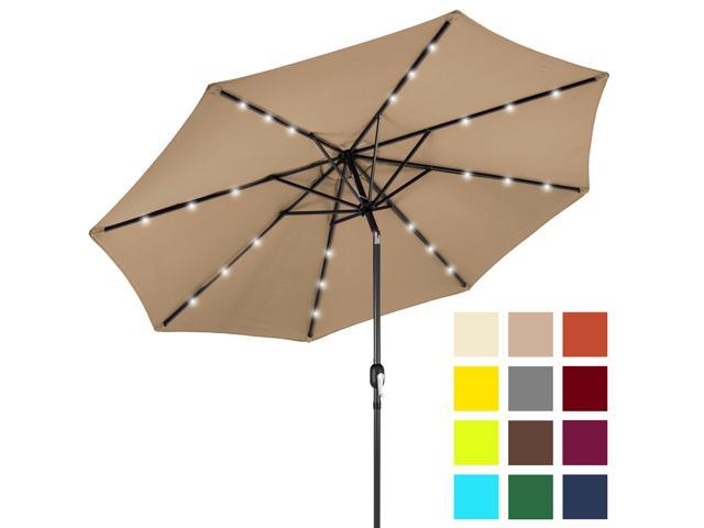 Best Choice Products 10ft Solar LED Lighted Patio Umbrella W/ Tilt  Adjustment   Tan