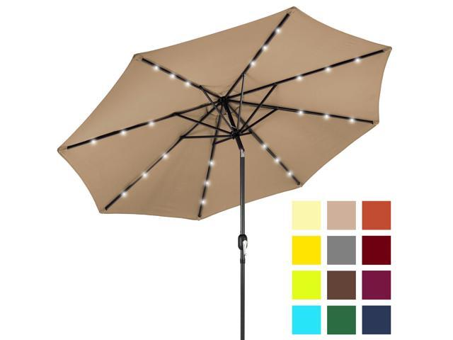 8b3410d5ac716 Best Choice Products 10ft Solar LED Lighted Patio Umbrella w/ Tilt  Adjustment, Fade-Resistant Fabric - Tan