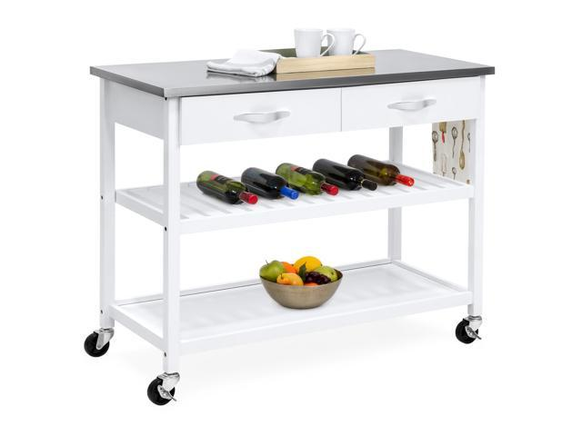 Best Choice Products Mobile Kitchen Island Utility Cart W Stainless Steel  Countertop, Drawers U0026 Shelves