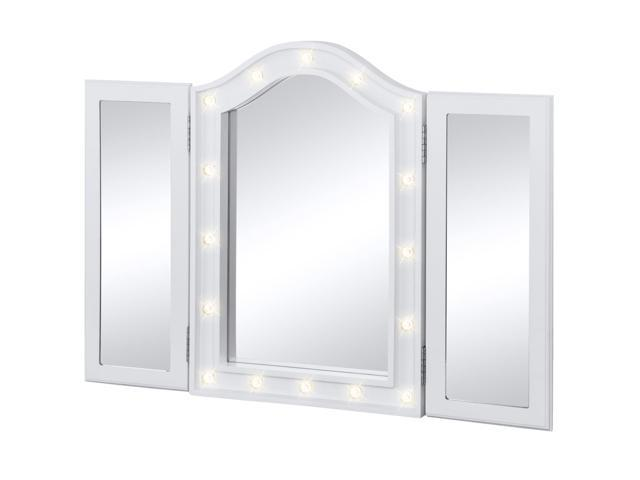 Best Vanity Mirror >> Best Choice Products Lit Tabletop Tri Fold Vanity Mirror W Led Lights White Newegg Com