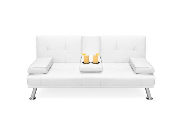 Brilliant Best Choice Products Modern Faux Leather Convertible Futon Sofa Bed Recliner Couch W Metal Legs 2 Cup Holders White Newegg Com Caraccident5 Cool Chair Designs And Ideas Caraccident5Info