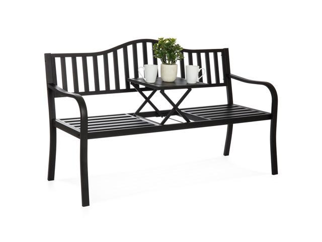 Pleasing Best Choice Products Cast Iron Patio Garden Double Bench Seat For Outdoor Backyard W Pullout Middle Table Gmtry Best Dining Table And Chair Ideas Images Gmtryco