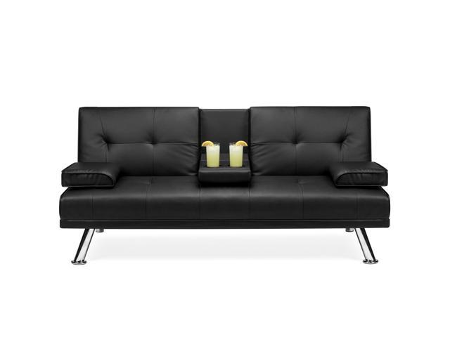 Best Choice Products Modern Faux Leather Convertible Futon Sofa Bed  Recliner Couch w/ Metal Legs, 2 Cup Holders - Black
