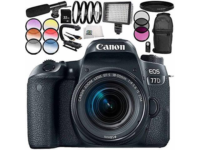 Canon EOS 77D DSLR Camera with 18-55mm Lens 13PC Accessory Bundle –  Includes 32GB SD Memory Card + Universal Wireless Shutter Release Remote +  MORE