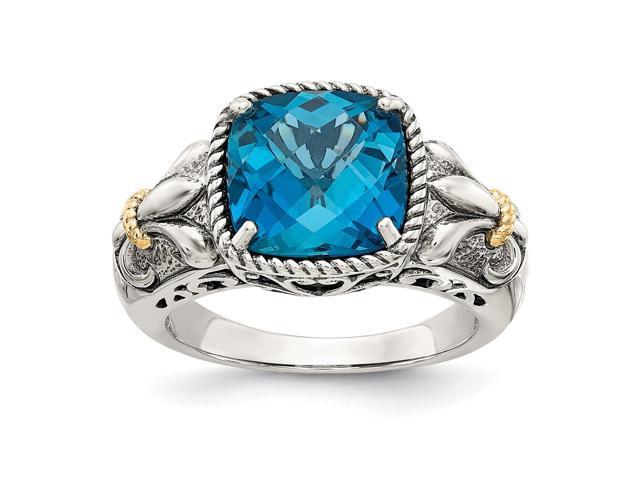f78f5ac55b7f5 Sterling Silver Two Tone Silver And Gold Plated Sterling Silver w/London  Blue Topaz Ring - Newegg.com